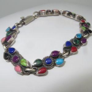 Vintage Sterling Multi Gemstone Bracelet